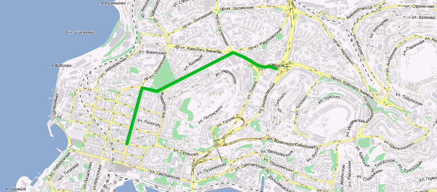 схема измененного маршрута