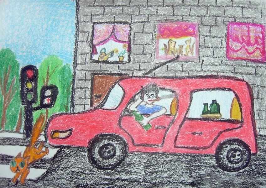 дети на дороге рисунки: