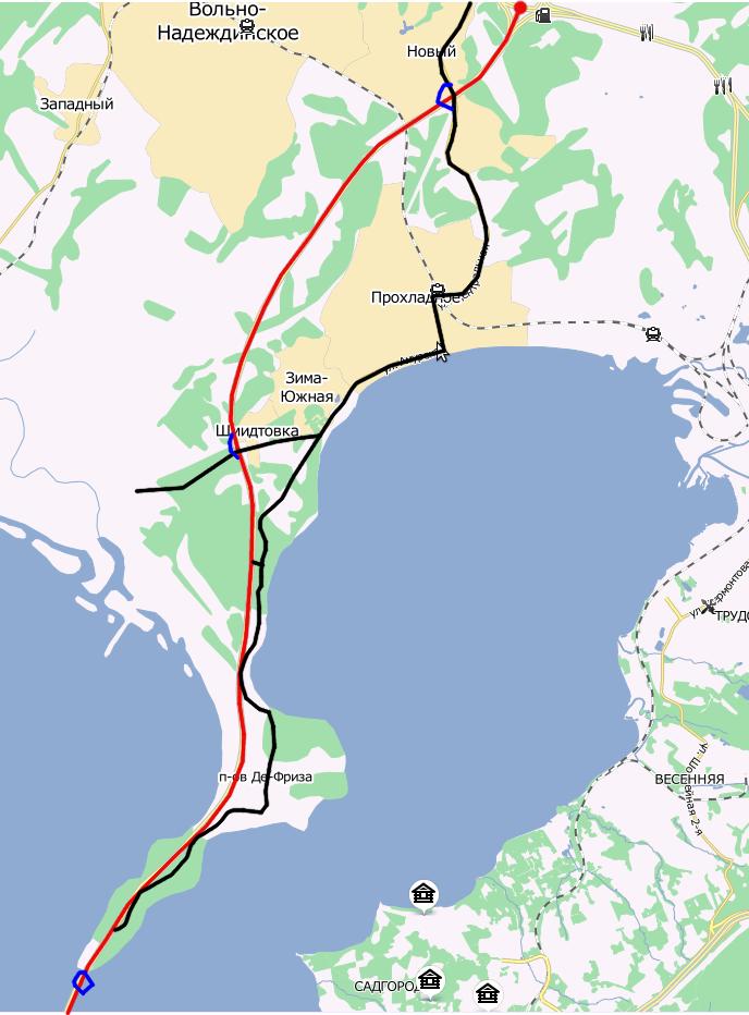 """Укрупненная схема.  Красным отмечен мост, черным - дорога  """"Хабаровск-Владивосток """", синим - будущие развязки..."""